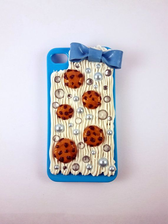 Iphone 4 Iphone 4s Blue Decoden Cookie Case by SugaryClay on Etsy