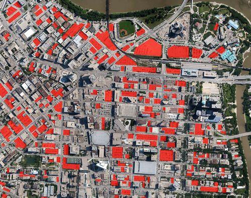 Surface parking lots in downtown Winnipeg, Canada