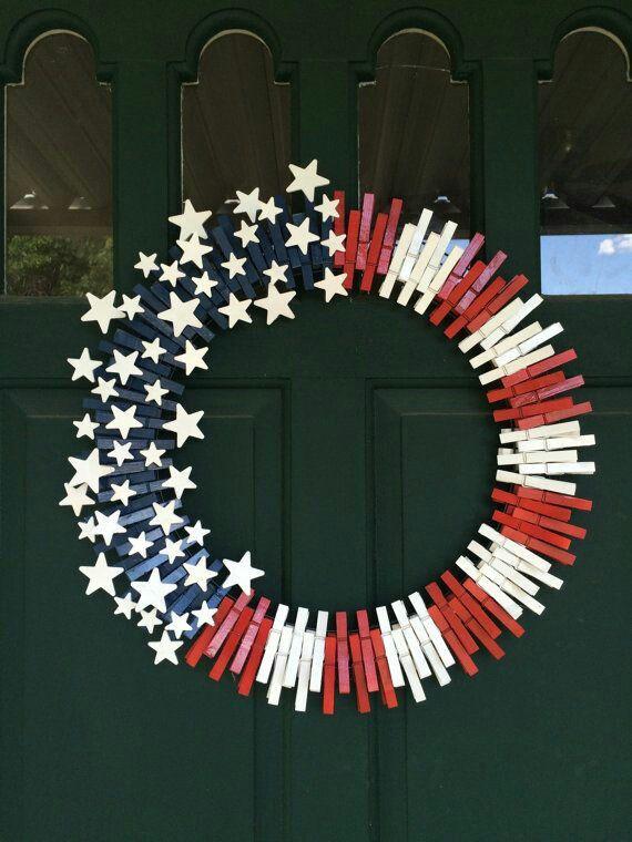 Clothes pin US Flag wreath