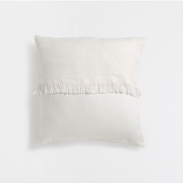 LINEN CUSHION COVER WITH FRINGED BAND