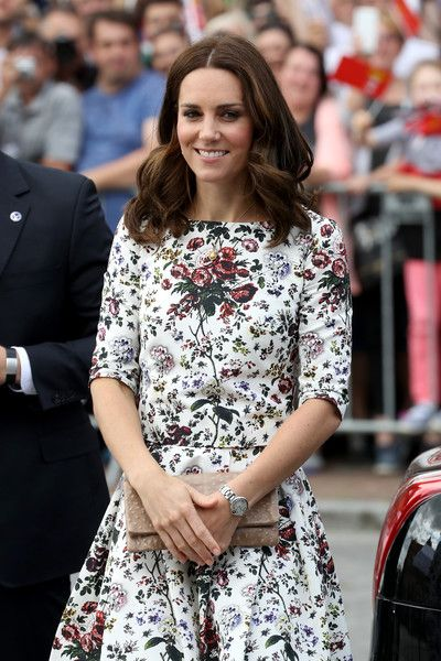 Catherine, Duchess of Cambridge arrives to the Gdansk Shakespeare Theatre during an official visit to Poland and Germany on July 18, 2017 in Gdansk, Poland.