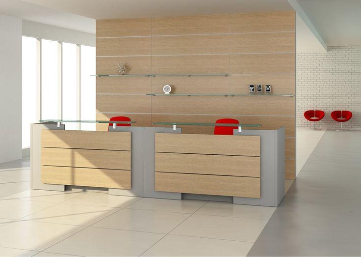 EXACT dwa moduły proste, baza w kolorze srebrnym, panele przednie w kolorze jasnego drewna.