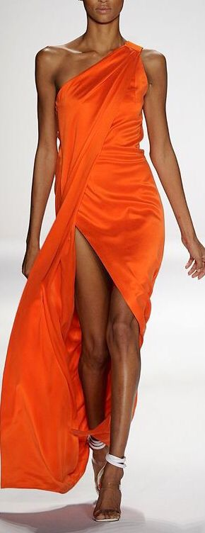 Kaufman Franco. Gorgeous orange tangerine dress!
