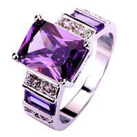 Lingmei популярная великолепный украшения изумрудный Cut аметист и белый топаз серебряное кольцо женщины кольца размер 6 7 8 9 10 11 12 13 оптовая продажа