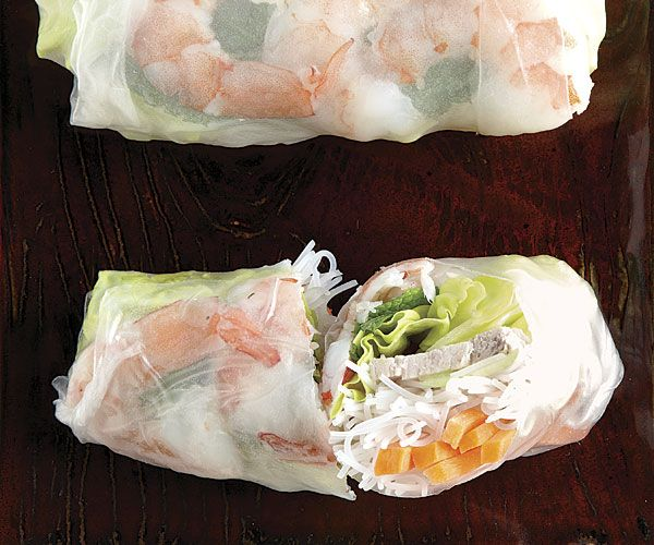 Pork and Shrimp Summer Rolls - the trifecta of my could-eat-it-every-day list with spicy peanut dipping sauce.
