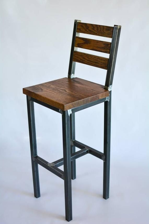 Wood And Steel Barstool Rustic Industrial Etsy Moveis Simples Luzes De Decoracao Moveis Industriais