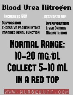 The blood urea nitrogen or BUN is a blood test that measures the amount of urea nitrogen in the bloodstream. It reflects how well your kidneys are. When a person is dehydrated, false results might be obtained as BUN levels increase when blood is concentrated. Elevated BUN levels indicate dehydration, excessive protein intake and impaired renal function. Low BUN levels indicate over hydration, liver damage and malnutrition.