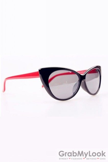 GrabMyLook Glossy Black Oversized Cat Eye Sunglasses Eyewear