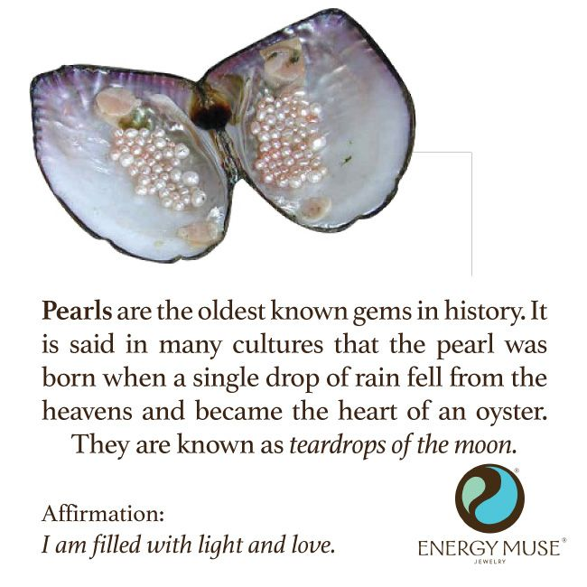 Pearls are the oldest known gems in existence. It is said that the pearl was born when a single drop of rain fell from the heavens and became the heart of the oyster. #pearls #healing #crystals