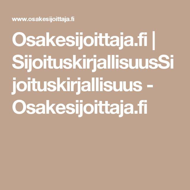 Osakesijoittaja.fi   SijoituskirjallisuusSijoituskirjallisuus - Osakesijoittaja.fi