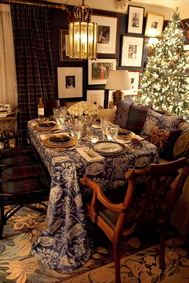 Ralph Lauren: Art wall, plaid curtains, mixed pillows, Christmas table....tartan I could never actually pull this off, but love to see how RL always can.