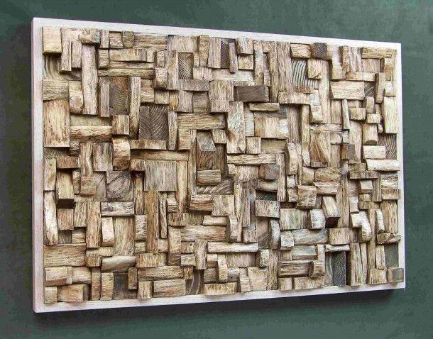 Heel gaaf!!! - wat je allemaal wel niet kunt met restjes hout... Ook tof in egaal wit, zwart of een andere kleur