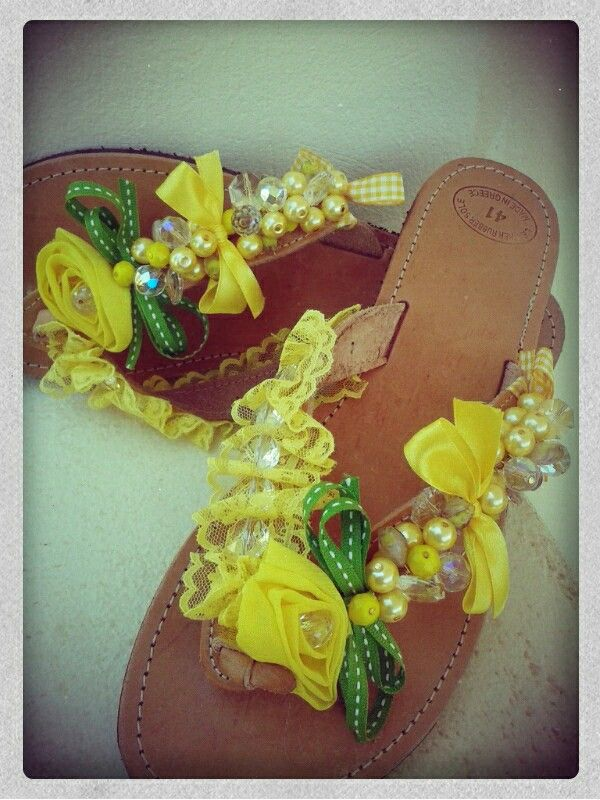 Yellow designed sandals handmade by Elena Tsiara