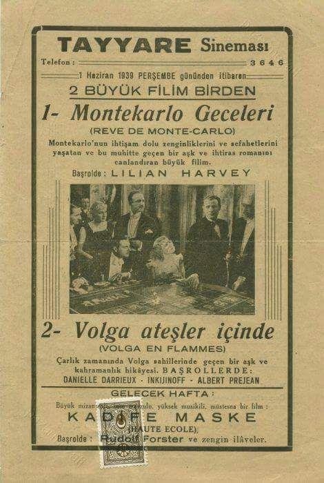"""1) Montekarlo Geceleri 2) Volga Ateşler İçinde """"Tayyare Sineması"""" """"2 film birden!"""" #birzamanlar #nostalji #istanlook"""