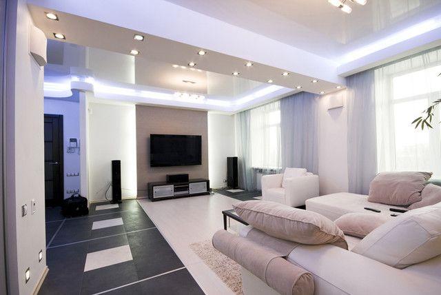 indirekte beleuchtung wohnzimmer rande einbauleuchten weiße möbel