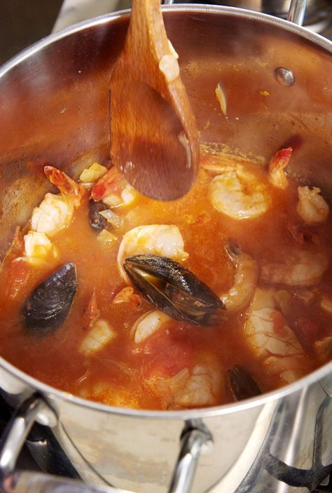 Cook until the mussels are totally opened and the shrimp and cod are completely cooked through, about 4 or 5 minutes.