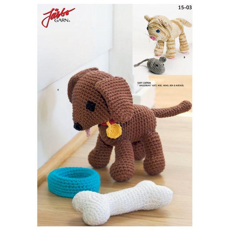 """Köp - Gratis!! Virkmönster - """"Amigurumi"""" katt, mus, hund, köttben & matskål - Järbo Garn 41713. Stickmönster från Järbo Garn. Garnkvalité: Soft Cotton"""