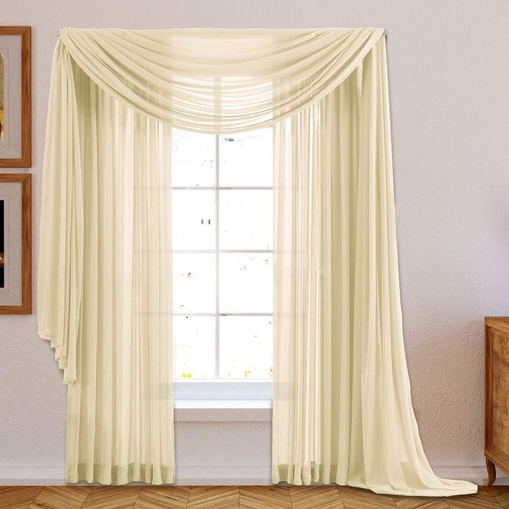 New Sheer Window Grommet Beige Colors Thermal Drape Curtain Panels (Set Of 2) #HLCMESheer