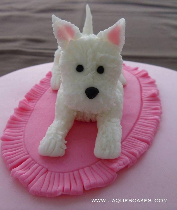 "Puppy Cake Topper PAP Modelado de Fondant ""Perrito Westy"" - paso a paso   blogjaquescakes"