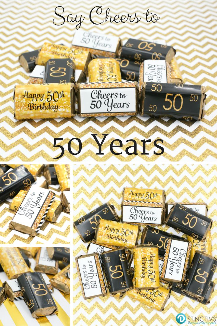 Black And Gold 50th Birthday Party Mini Candy Bar Stickers