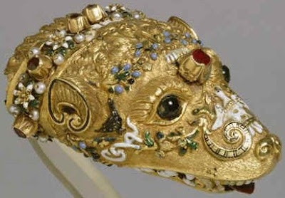 Jewelled Marten's head 1550, possibly Venice, Enamelled gold, ruby, garnets and pearls. Walters Art Gallery Baltimore.    This jeweled marten's head at the Walter's Gallery in Baltimore is nearly identical to that attached to the fur held by the countess in Veronese's portrait of Countess da Porto, also at that museum. No coincidences there. The curators at the Walters tell us that the marten was associated with childbirth, and that wearing its fur was believed to increase a woman's…