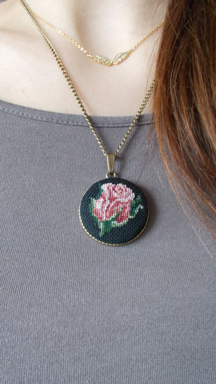 Original red rose Necklace with chain by DoriArt on Etsy