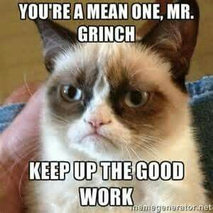 Grumpy cat endorses the Grinch and his actions