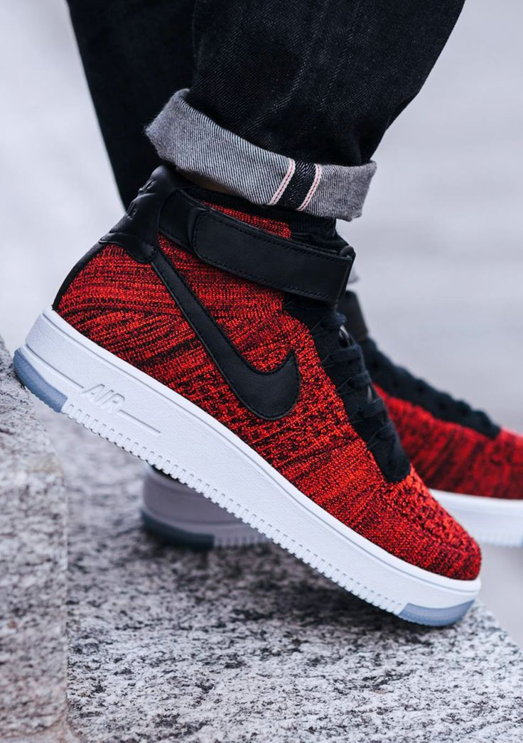 Nike Air Force 1 Flyknit Red On Feet
