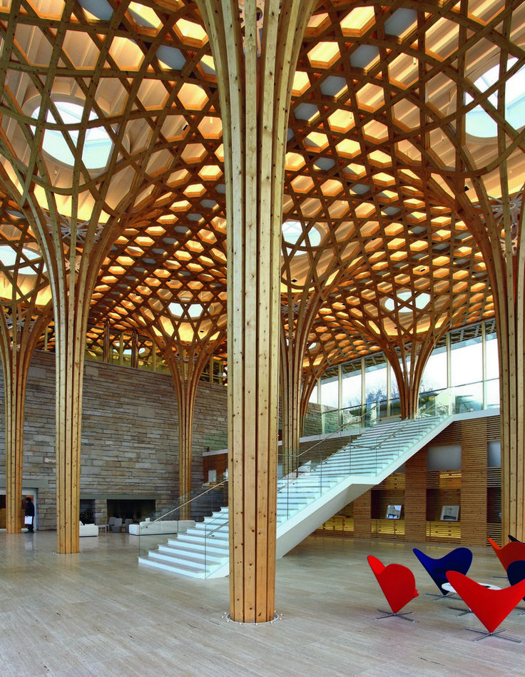 Haesley Nine Bridges Golf Clubhouse, South Korea.   From Wood Architecture Now! | Philip Jodidio