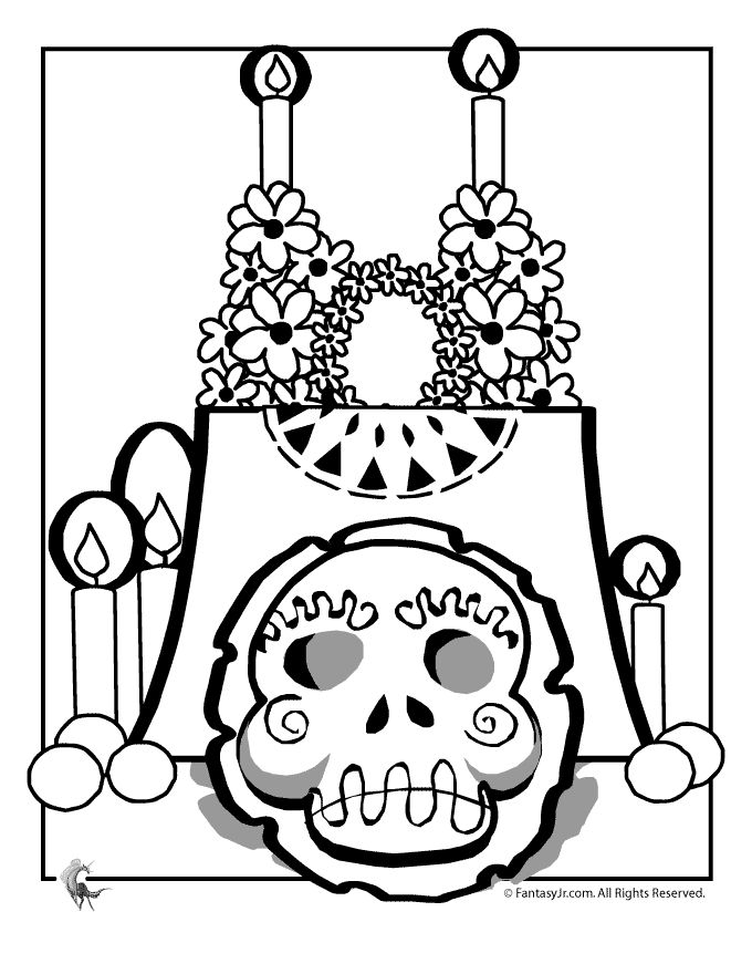 day of the dead altar coloring page