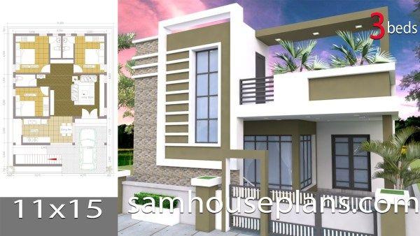 House Plans Idea 8x7 With 3 Bedrooms Sam House Plans House Plans Bungalow House Design Single Floor House Design