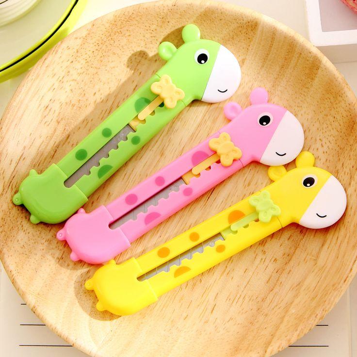 ג 'ירפה חמודה סכין שירות סכין גילוח חיתוך חותך נייר נייר נייר מכתבים למשרד Escolar Papelaria אספקת בית הספר