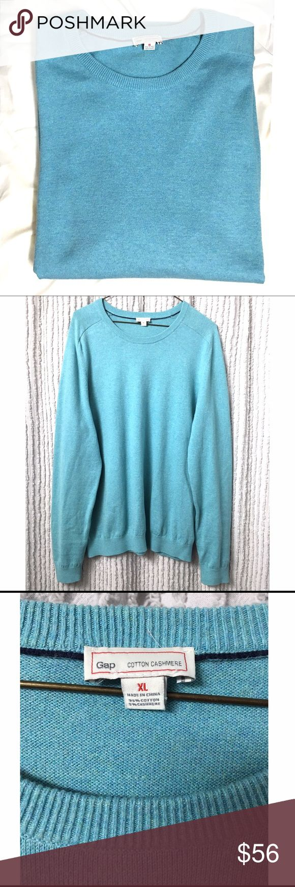 GAP men's cotton cashmere crew neck sweater Color is a pastel / turquoise blue. Cashmere and cotton blend. Size XL. Worn once, excellent condition. Perfect for the cold weather. GAP Sweaters Crewneck
