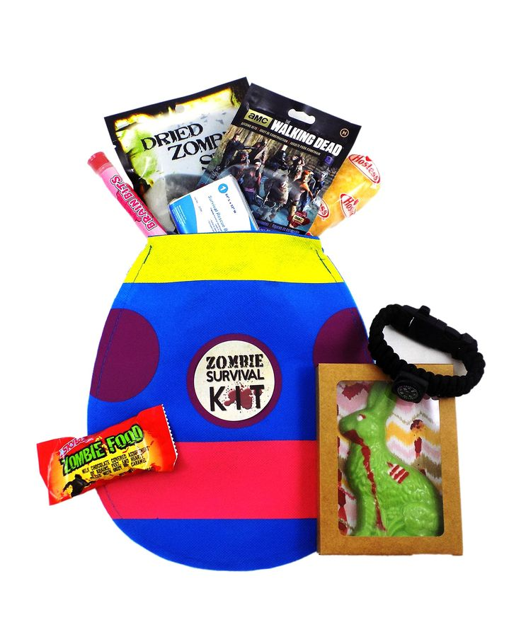 Zombie Apocalypse Survival Easter Gift Basket with Zombie Chocolate Bunny and Walking Dead Figure