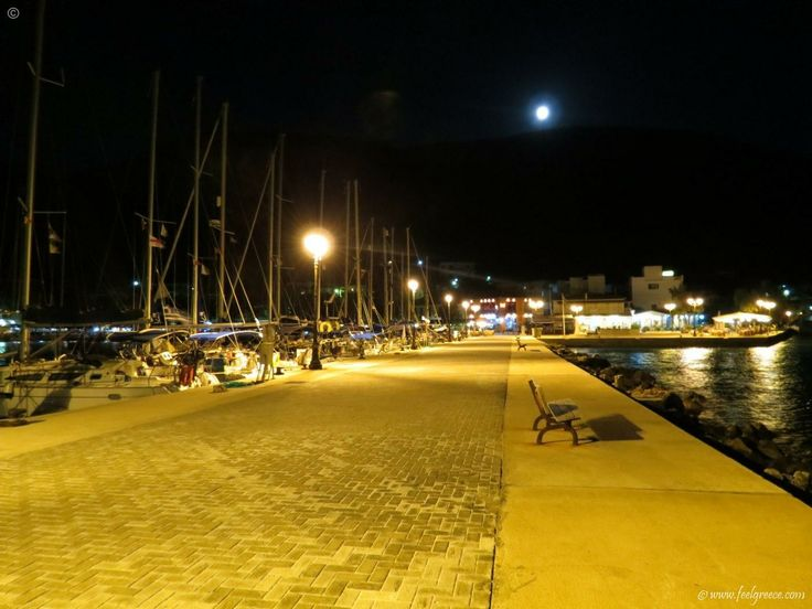 night walk in Vasiliki - one of the most famous villages on the island, popular place among windsurfers - Lefkada