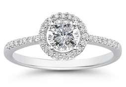 14K White Gold Circle Diamond Ring