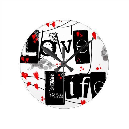 Love Life black,red,hearts,dots text wall clock
