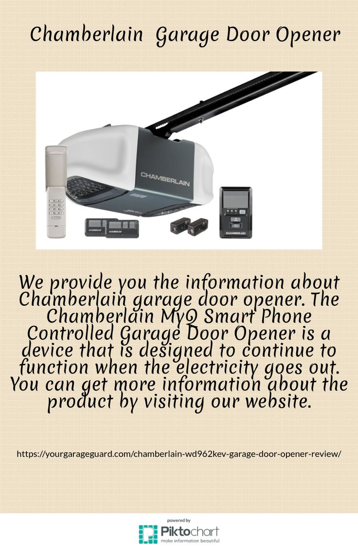 We provide you the information about Chamberlain garage door opener. The Chamberlain MyQ Smart Phone Controlled Garage Door Opener is a device that is designed to continue to function when the electricity goes out. You can get more information about the product by visiting our website.