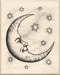 crescent moon face drawing - Google Search