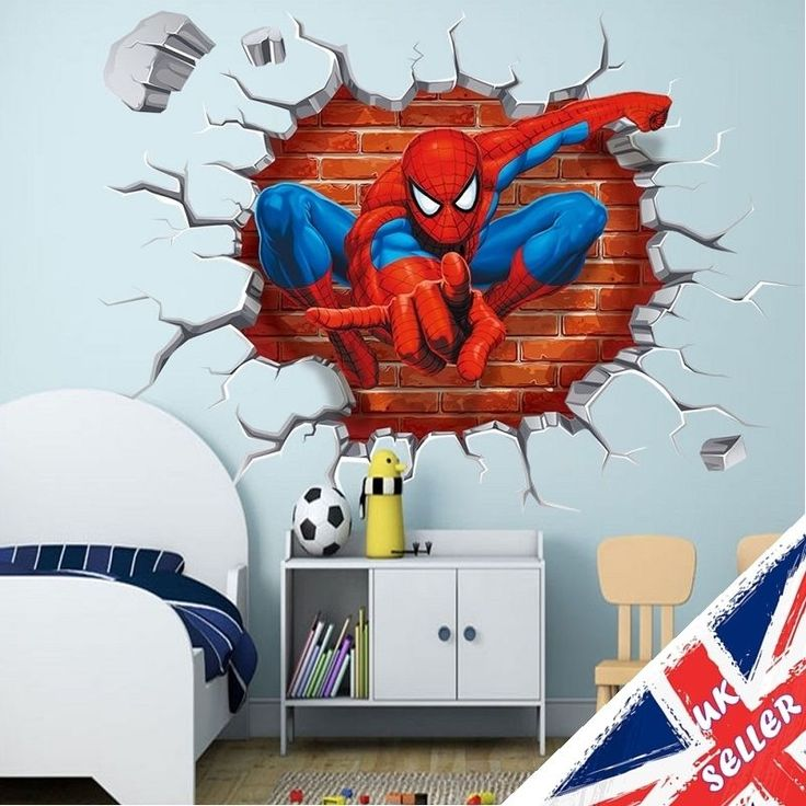 Amazing Spiderman Avengers 3D Crack Wall Stickers Vinyl Art Decal Boys Bedroom