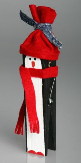 Penguin  1 jumbo clothespin, available from a craft store.    • Acrylic paint in black, white, orange and red.    • Red felt scraps.    • 1-inch wide sponge brush and a fine paintbrush for details    • Thick, white glue.    • Ribbon.    • Ruler.    • Pencil.