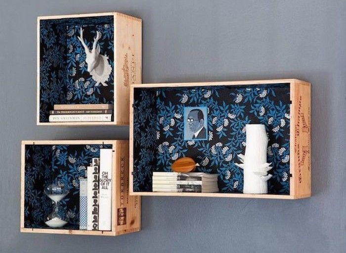 la vieja caja de madera idee deco hace estante con viejos cajones de madera …