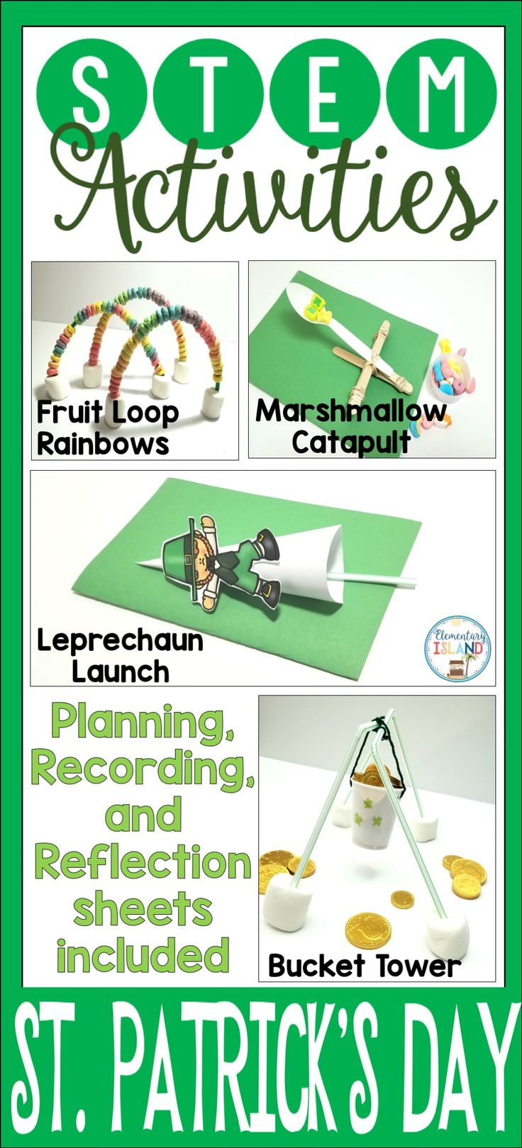 St. Patrick's Day STEM activities for kids are so fun.  Students will love the activities and challenges to help the leprechaun.  There are 4 ideas included in this product to choose from.  Celebrate St. Patty's day with projects students will enjoy instead of printables.  Your students will thank you!