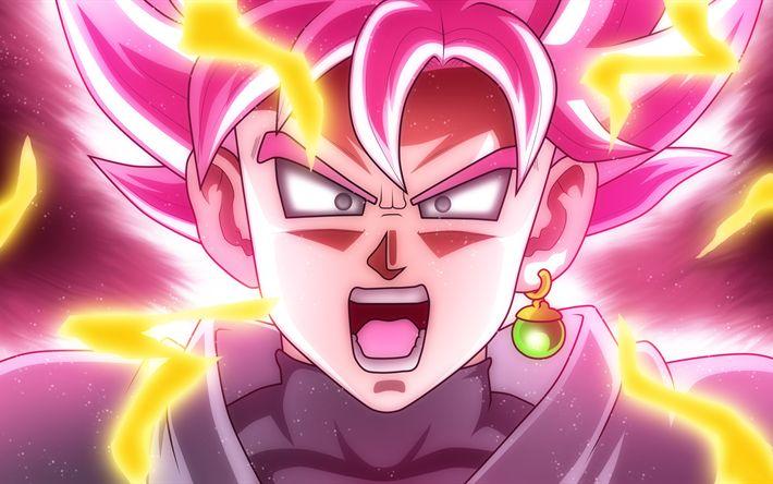 Download imagens Goku, 4k, Dragon Ball Z, cor-de-rosa, DBZ