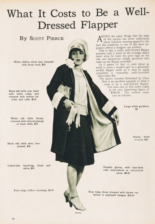 The cost to be a well-dressed flapper in 1927 and 2017!