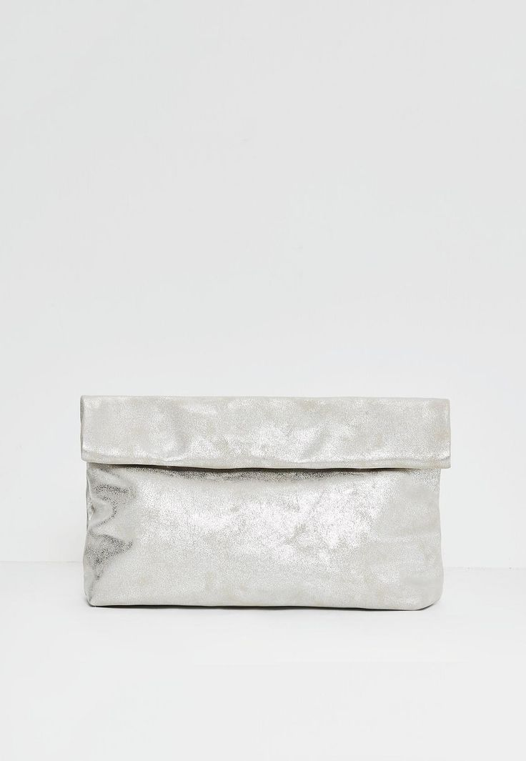 Missguided - Silver Faux Leather Roll Top Clutch Bag