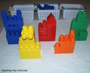 Reinforce Colors   Separate blocks by colors and build a building in each color. Reinforce color identification by asking your child to point to the red building or asking what color is each building. Compare the size of the buildings. Count the number of buildings