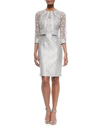 Sequined-Lace Jacket & Sequined Lace-Bodice Cocktail Dress  by Kay Unger New York at Neiman Marcus.