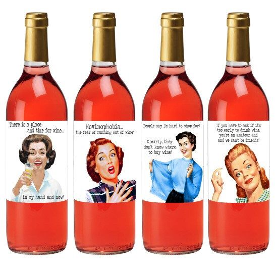 Hostess Wine Label Set - Wine Label Gift Set - Funny Wine Labels - Retro Wine Labels by TheSloshedSisters on Etsy https://www.etsy.com/listing/292052193/hostess-wine-label-set-wine-label-gift