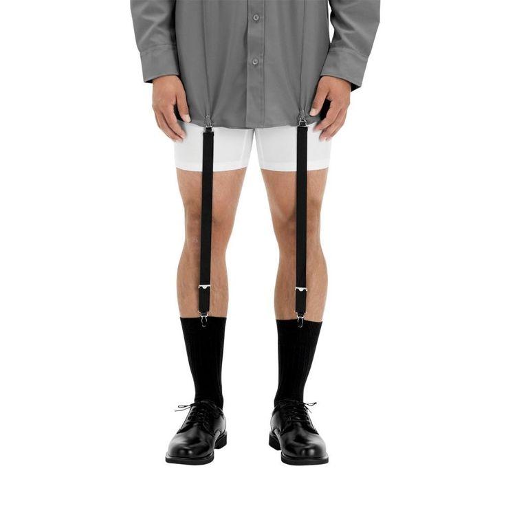 New Mens Black Military Shirt Stays Uniform Adjustable Sock Garters Set of 4 | eBay